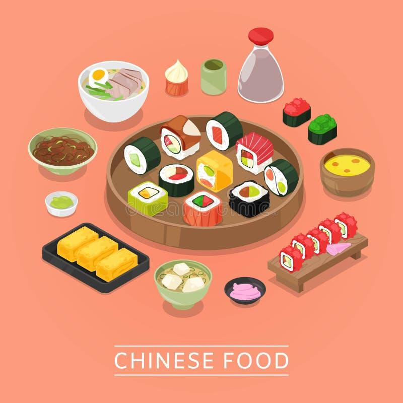 Chińskiego suszi jedzenia wektorowy pudełko, talerz, chopsticks, odgórny widok, suszi set, tofu i Tom ciemnawa tradycyjna Porcela ilustracji