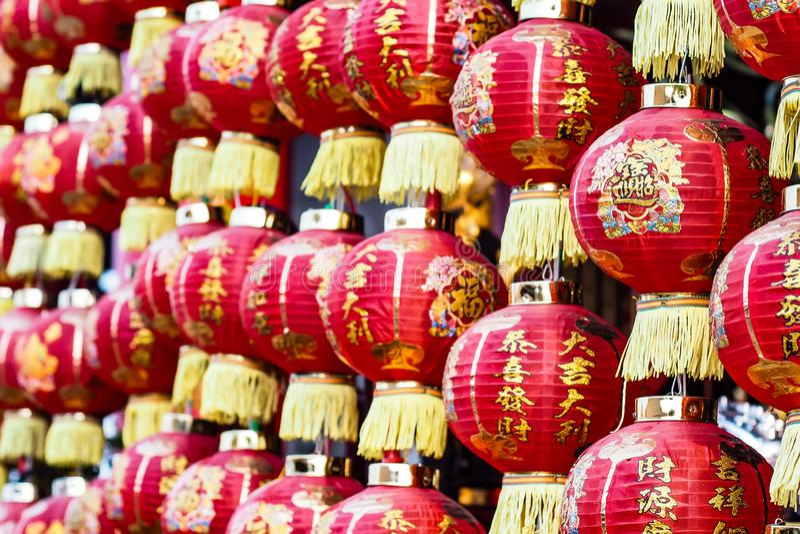 Chińskiej czerwonej lampion religii tradycyjna dekoracja zdjęcia stock