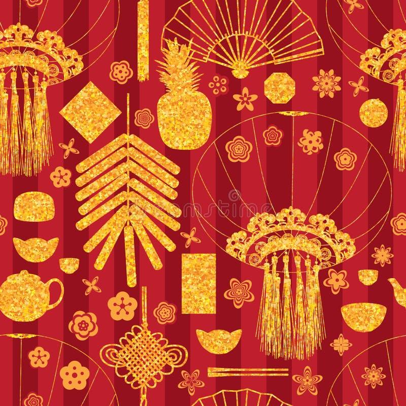 Chińskiej nowy rok złotej błyskotliwości bezszwowy wzór royalty ilustracja