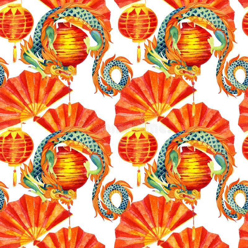Chińskiej smok akwareli bezszwowy wzór ilustracji