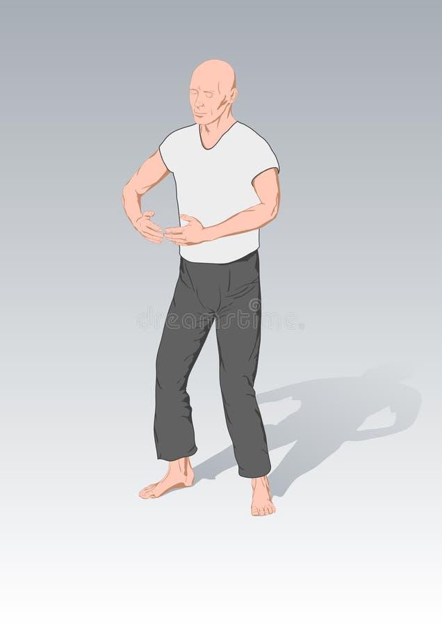 chi θέσεις γυμναστικής kung διανυσματική απεικόνιση