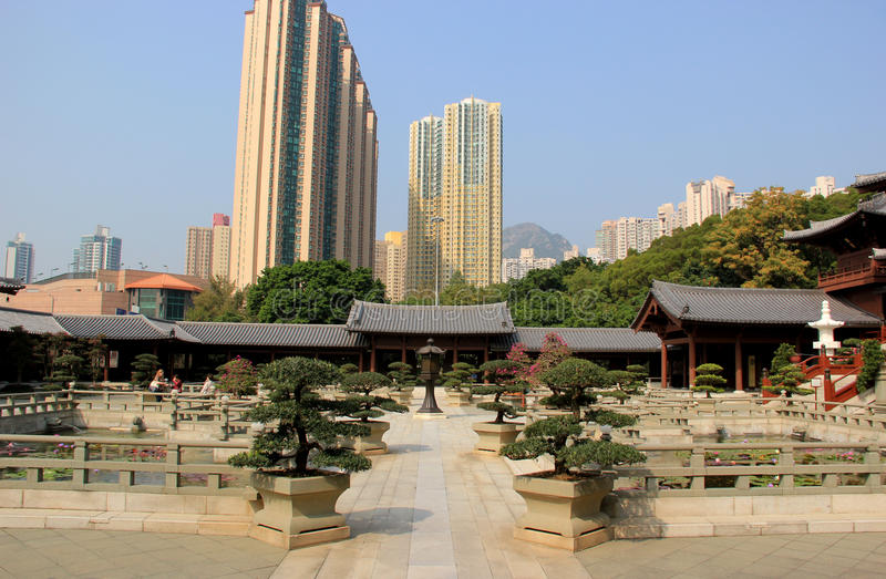 Chi μονή καλογραιών της Lin, ένας μεγάλος βουδιστικός ναός σύνθετος που χτίζει χωρίς α στοκ εικόνα με δικαίωμα ελεύθερης χρήσης