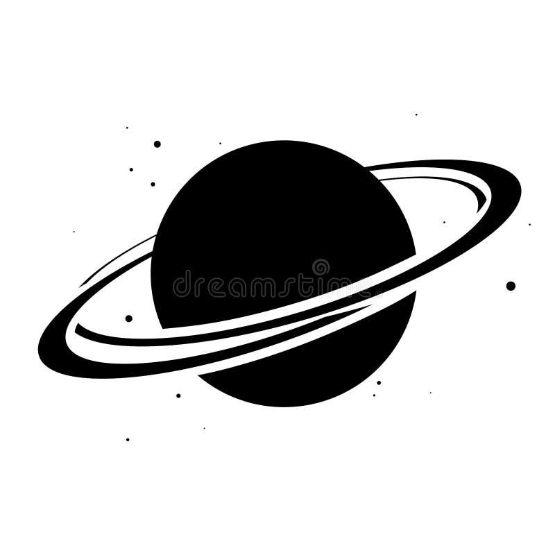 Πλανήτης Κρόνος με το πλανητικό επίπεδο εικονίδιο συστημάτων δαχτυλιδιών Διανυσματική απεικόνιση στο άσπρο υπόβαθρο στοκ εικόνες με δικαίωμα ελεύθερης χρήσης