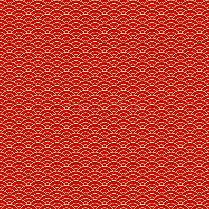 chi?czyka bezszwowy deseniowy Czerwony i złoty chińczyk chmurnieje tradycyjnego ornamentu tło r?wnie? zwr?ci? corel ilustracji we ilustracji