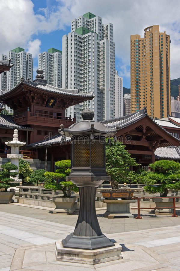 Chi lin μονή καλογραιών, κινεζικός ναός ύφους δυναστείας του Tang, Χονγκ Κονγκ στοκ εικόνα
