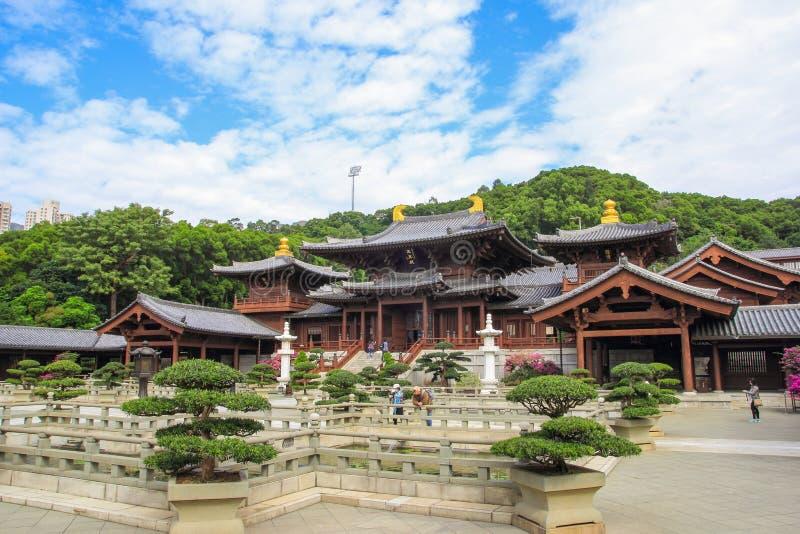 Chi lin Klooster, Tang-de tempel van de dynastiestijl, Hong Kong, China stock foto