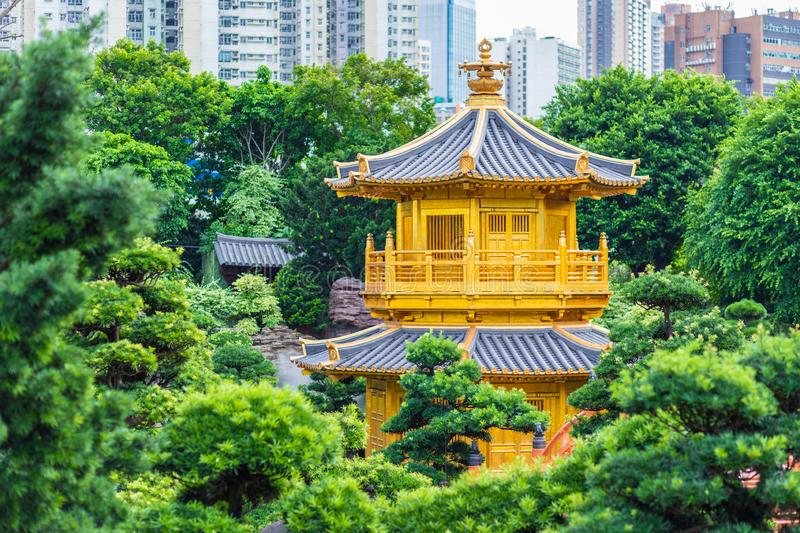Chi Lin Nunnery and Nan Lian Garden. Golden pavilion of absolute perfection in Nan Lian Garden in Chi Lin Nunnery, Hong Kong,. China royalty free stock images
