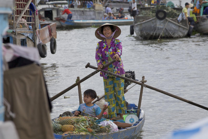 Download Chi Rang Floating Market editorial stock photo. Image of floating - 20733023