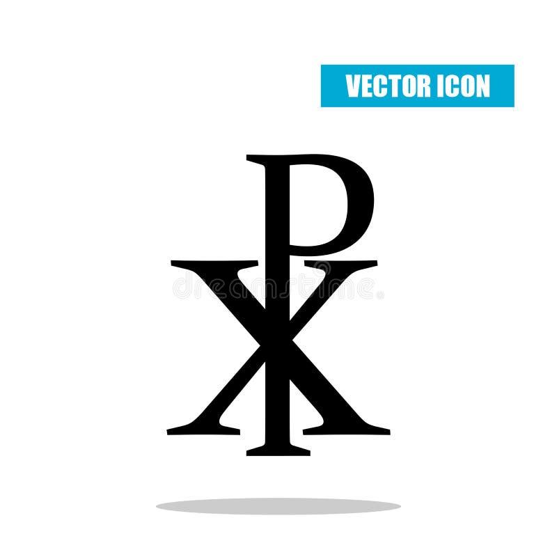Chi RHO symbol z opadowym cieniem Christogram Labarum ikona odizolowywająca na bielu royalty ilustracja