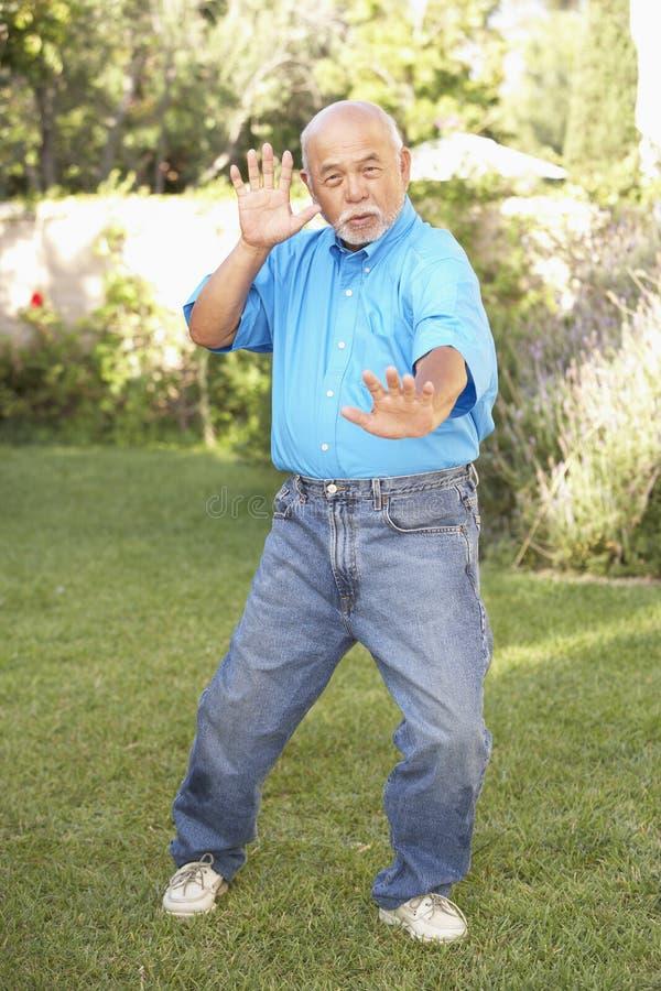 chi robi mężczyzna seniora tai zdjęcia stock
