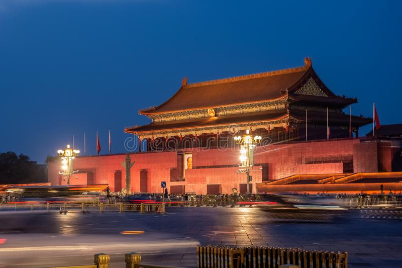 Chi?ska antyczna klasyka Pekin Tiananmen nocy scena zdjęcia stock