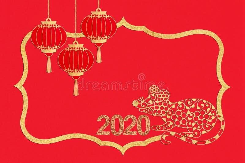 chi?ski nowy rok Papierowa rama z szczurem, lampionami i liczbami, 2020 zdjęcia royalty free