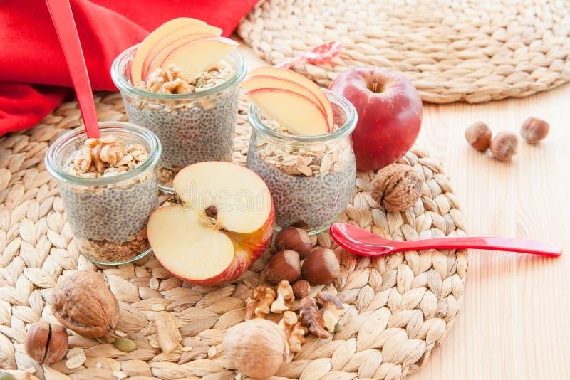 Chia布丁用新鲜水果 库存图片