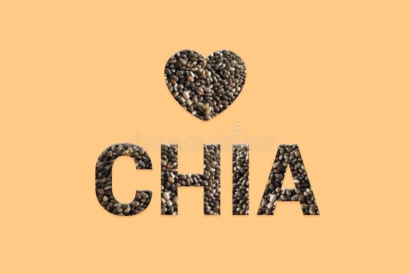 Chia种子构造与心脏的文本在淡色背景 整个五谷未加工的有机种子 超级食物和戒毒所食物 向量例证