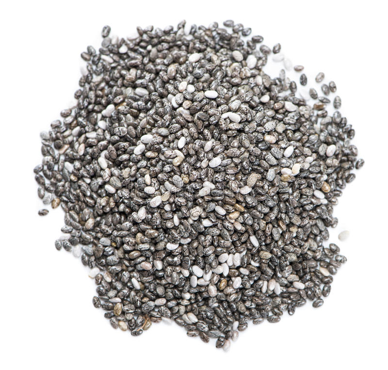 Chia种子(隔绝在白色) 免版税库存图片