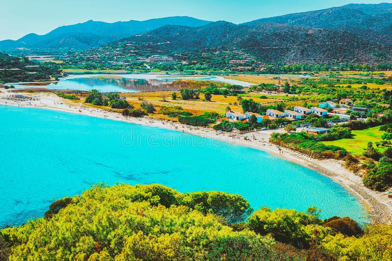 Chia Beach on Blue Waters of the Mediterranean Sea. In Province of Cagliari of South Sardinia in Italy stock photos