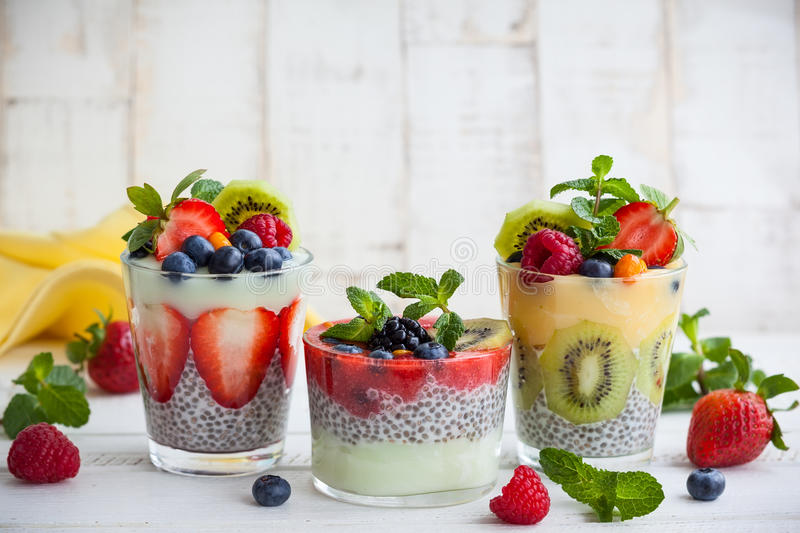 Chia and berry smoothies. Layered berry and chia seeds smoothies stock photo