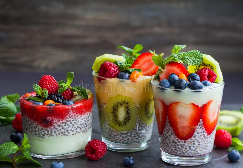 Chia and berry smoothies. Layered berry and chia seeds smoothies royalty free stock image