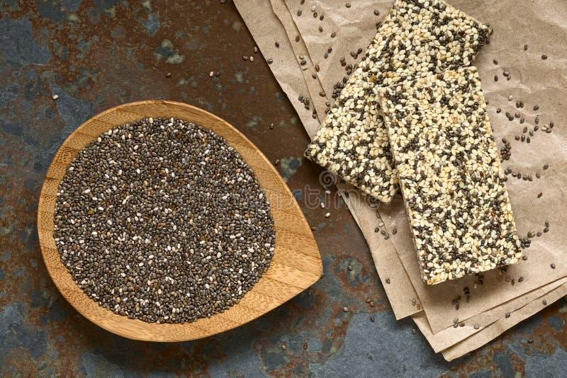 Chia en Chia Sesame Granola Bars royalty-vrije stock afbeelding