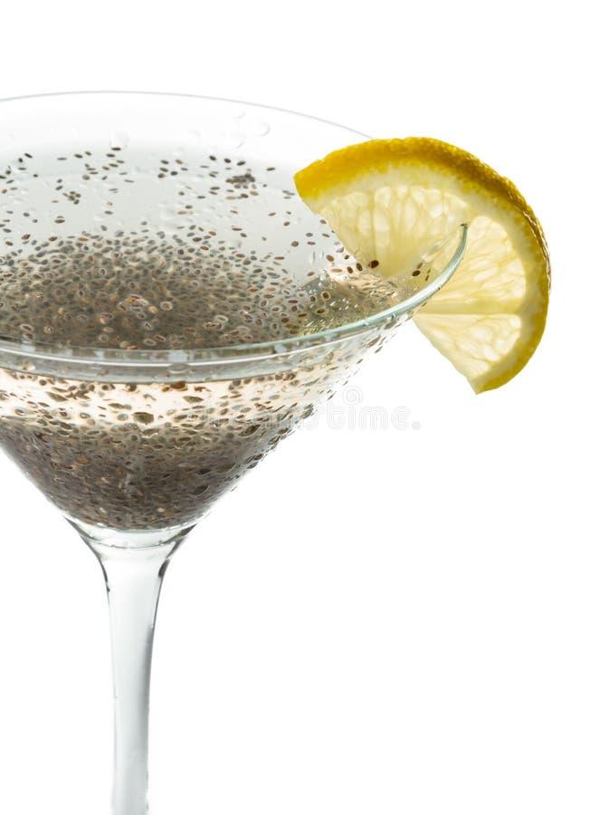 Chia kärnar ur citronen martini royaltyfria foton