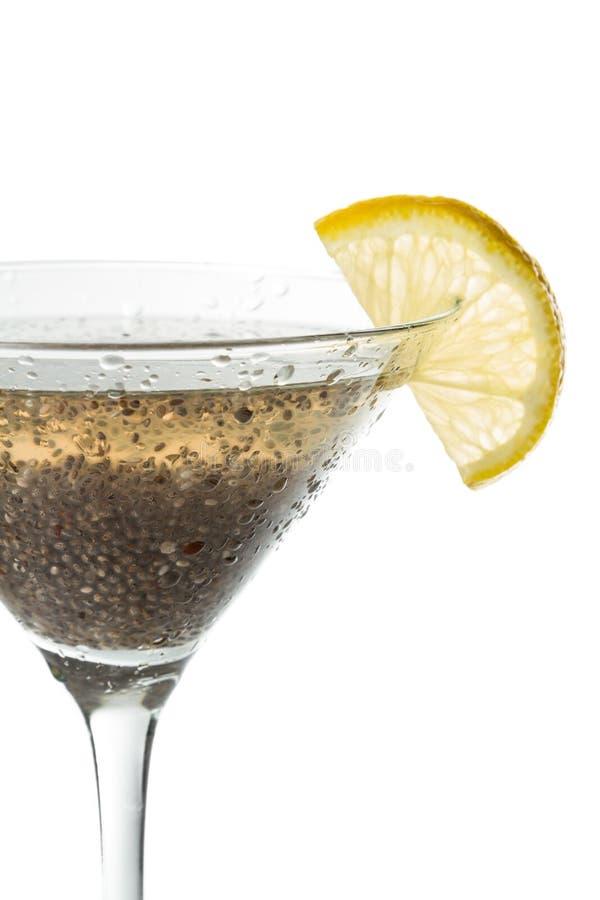 Chia kärnar ur citronen martini arkivfoton