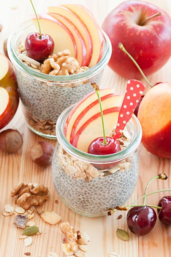 Chia Pudding con la frutta fresca fotografie stock libere da diritti