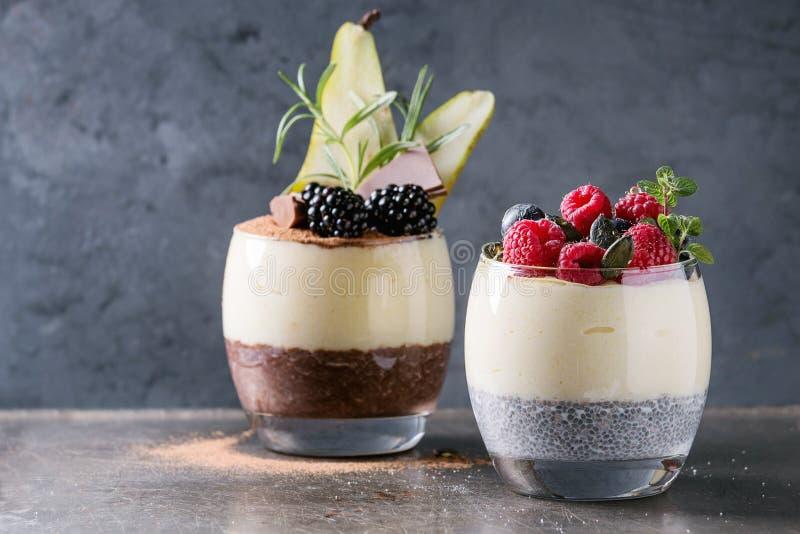Chia pudding med rishavregröt royaltyfri foto