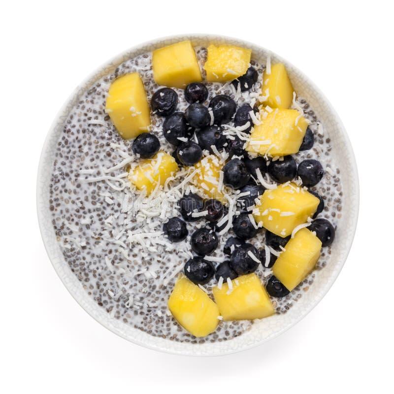 Chia Pudding mit Mango Blueberries und Coconut Top View isoliert lizenzfreie stockfotos
