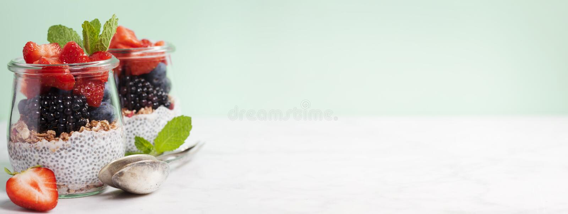 Chia sème le pudding et les baies de vanille image stock