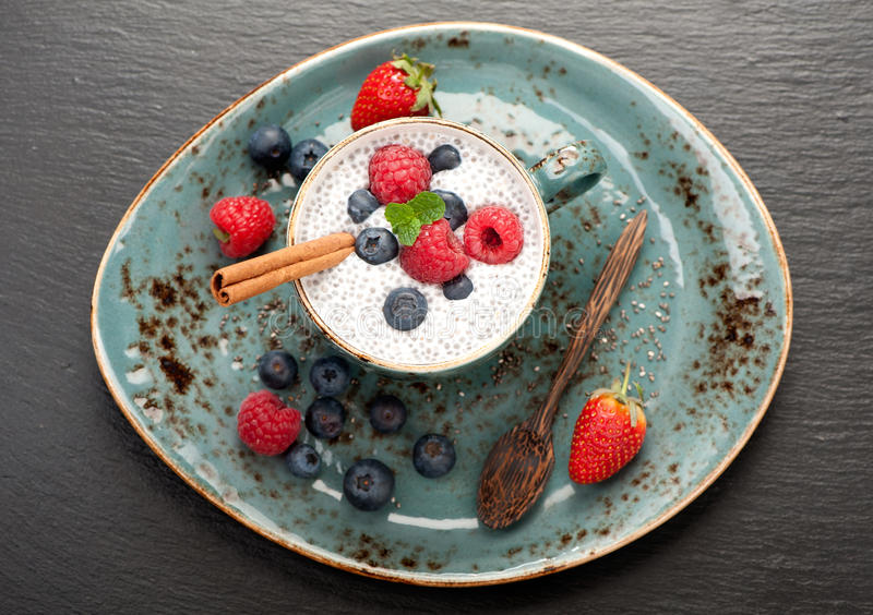 Chia Seed Pudding stock afbeelding