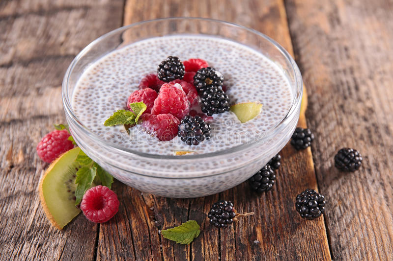 Chia seed pudding. With fruits stock photography