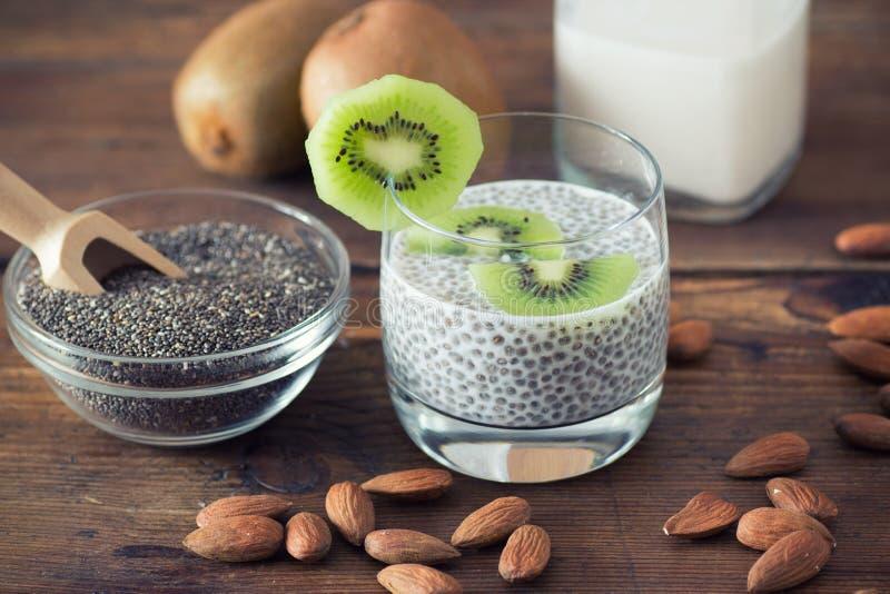 Chia seed pudding. With kiwi stock image