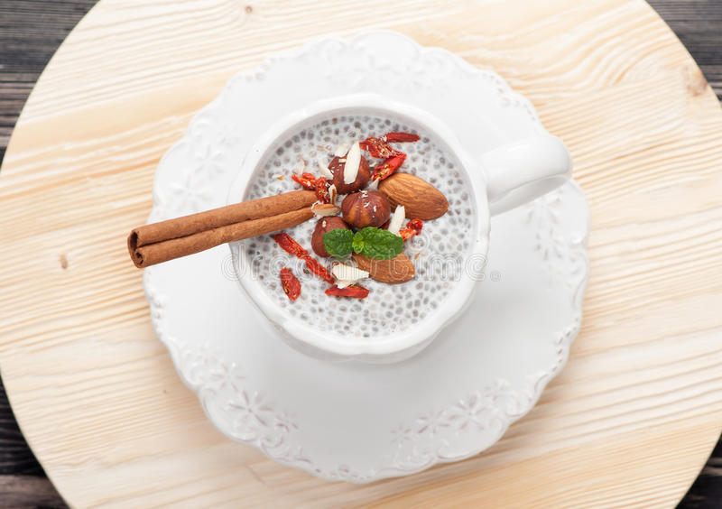 Chia seed pudding. With nuts and goji berries. top view royalty free stock photography