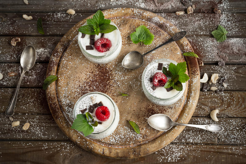 Chia seed pudding with raspberries chocolate and mint in jars. Close up royalty free stock photo