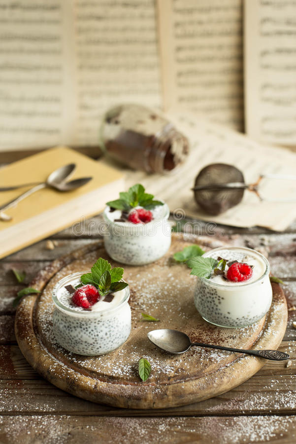 Chia seed pudding with raspberries chocolate and mint in jars. Close up royalty free stock photography