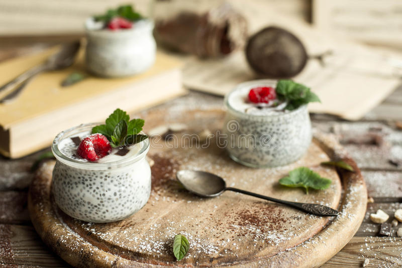 Chia seed pudding with raspberries chocolate and mint in jars. royalty free stock photo