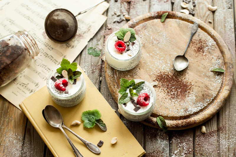 Chia seed pudding with raspberries chocolate and mint in jars. stock photography