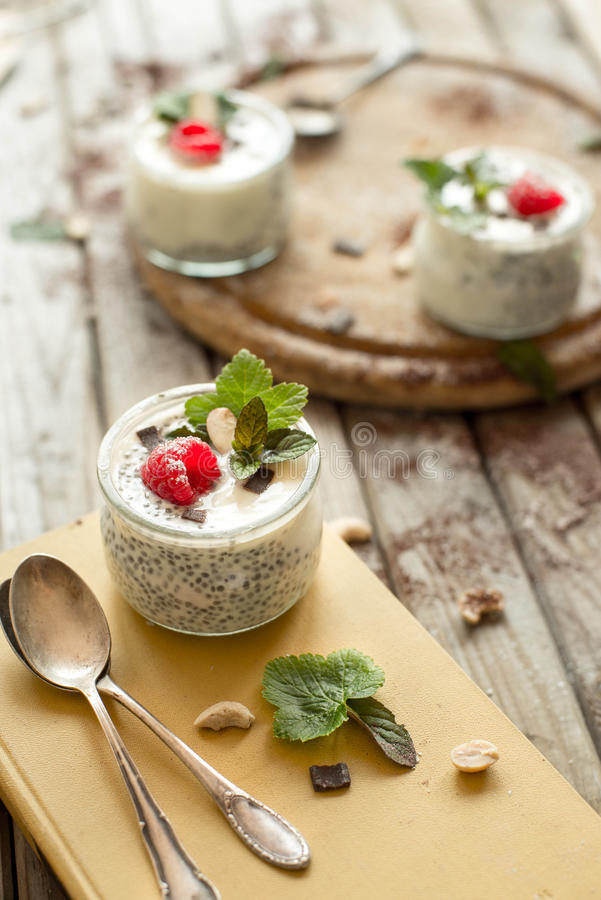 Chia seed pudding with raspberries chocolate and mint in jars. stock image