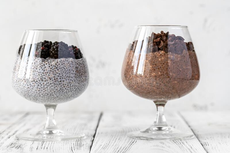 Chia seed puddings royalty free stock photo