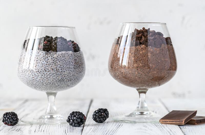 Chia seed puddings royalty free stock image