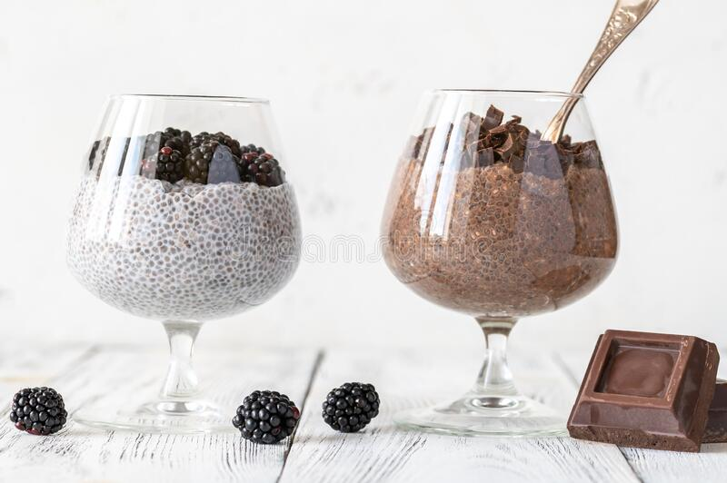 Chia seed puddings royalty free stock photography