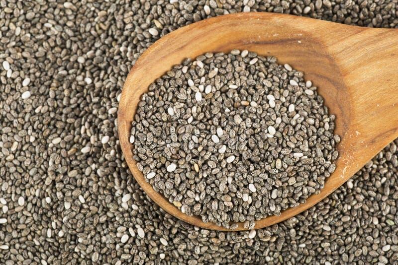 Chia Seeds com colher imagens de stock