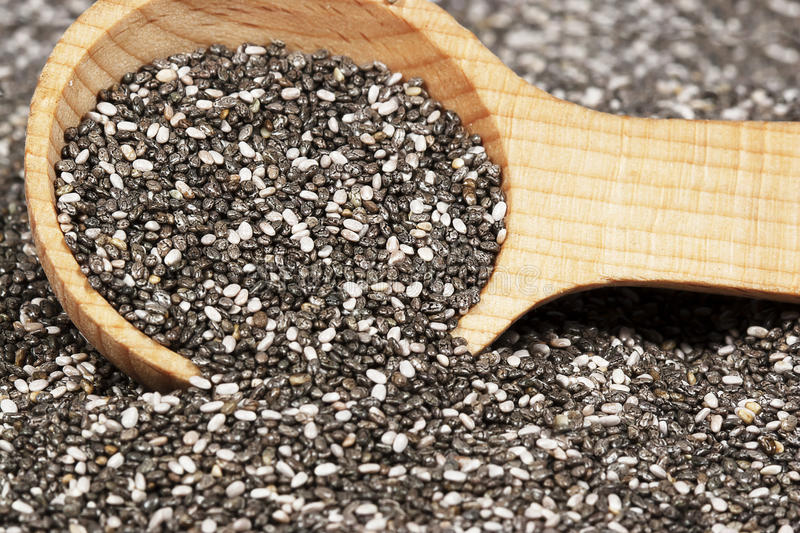 Chia Seeds. Dark and light colored chia seeds in wooden spoon. Seeds blurred in foreground and background. Chia is an edible seed that comes from the desert