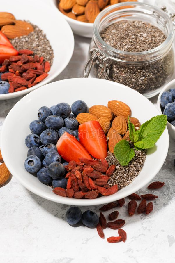 Chia seeds, fresh berries and nuts for a healthy breakfast, vertical closeup stock image