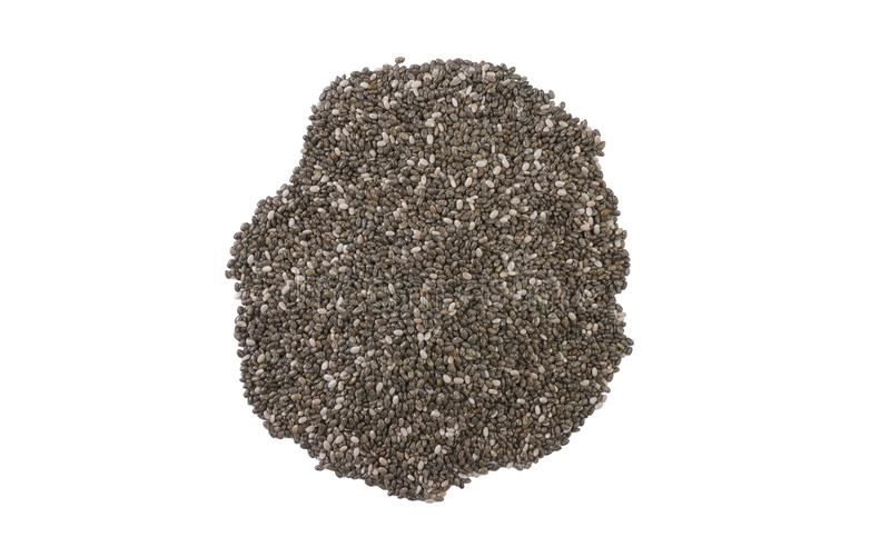 Chia seeds heap isolated on white background. top view stock photo
