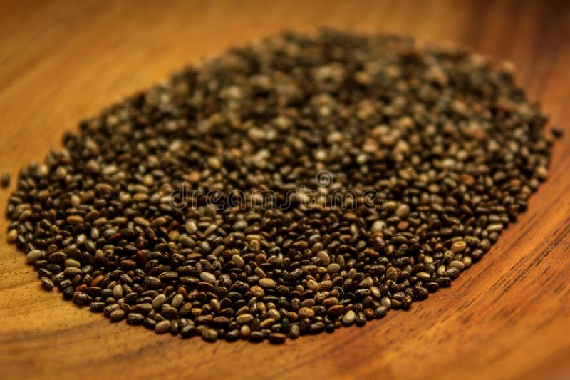 Chia seeds. This photograph was taken on march 15, 2018 in Matinhos, Paraná, Brazil royalty free stock photos