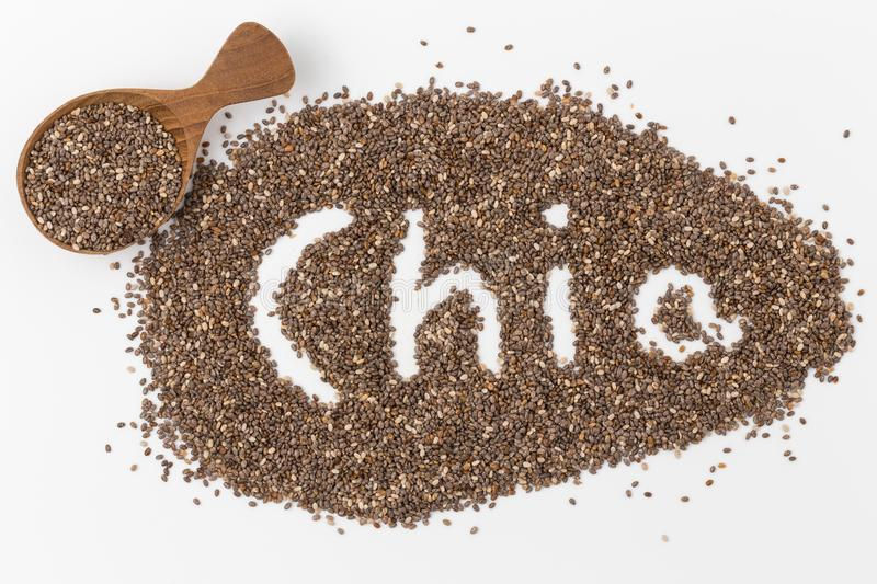 Chia seeds in wooden spoon Isolated on white background. Chia seeds in wooden spoon Isolated stock images