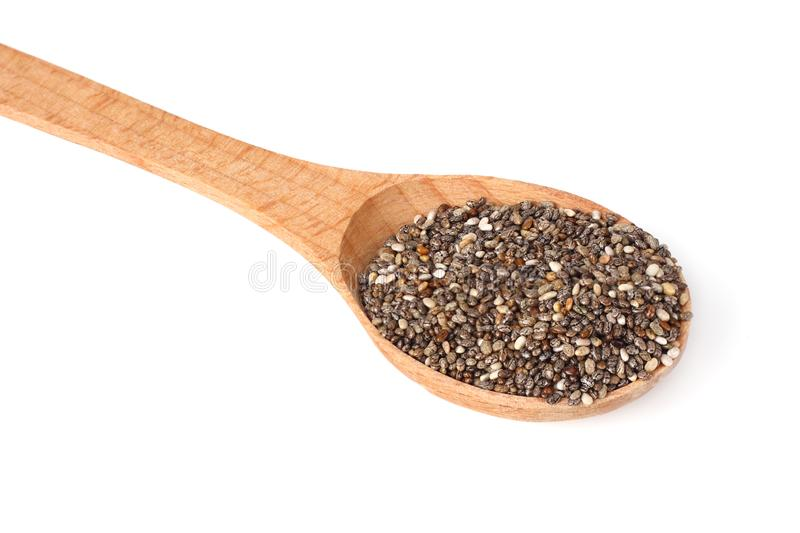 Chia seeds in wooden spoon isolated on white background royalty free stock image