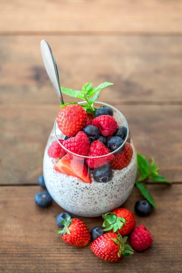 Chia Superfoods śniadanie z Chia ziarna jagodami i puddingiem ja zdjęcia royalty free