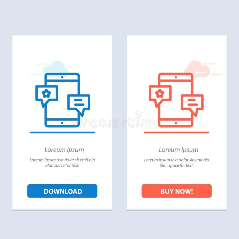 Chiacchierata, Comunità, media, rete, blu di promozione e download rosso ed ora comprare il modello della carta del widget di web illustrazione vettoriale